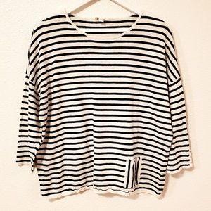 J. Jill Striped Long Sleeves Light Sweater